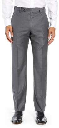 Zanella Parker Flat Front Solid Wool Trousers
