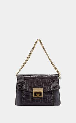 Givenchy Women's GV3 Small Crocodile-Stamped Leather and Suede Shoulder Bag - Gray