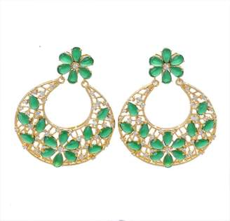 Fashionable J S Jewel fashioners PARTY WEAR CHAND BALI BRASS MADE 22K GOLD PLATED GLASS STONE EARRING