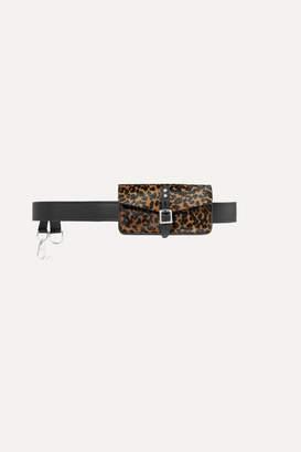 Rag & Bone Dwight Leopard-print Calf Hair And Leather Belt Bag - Black