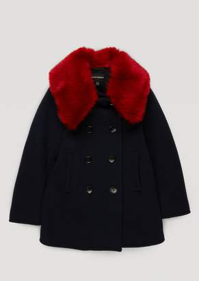 Emporio Armani Wool Blend Broadcloth Coat With Detachable Faux Fur Collar