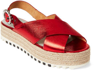 Marc Jacobs Red Beverley Flatform Espadrille Sandals