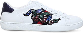 e56d5b2dba7 Gucci Ace snake-embroidered leather trainers