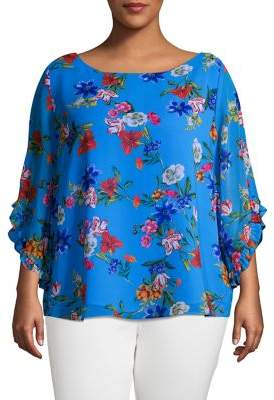 Calvin Klein Plus Floral Boatneck Ruffle Top