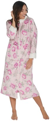 e9664a7561 Stan Herman Petite Printed Silky Plush Robe with Sherpa Trim