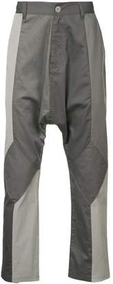 Mostly Heard Rarely Seen Mixed Media dropped crotch trousers