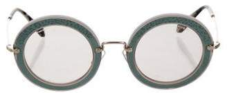 Miu Miu Round Textured Sunglasses