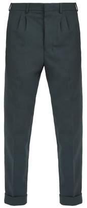 Ami Pleated Straight Leg Trousers - Mens - Dark Green