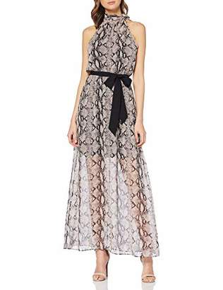 Dorothy Perkins Women's Neutral Bow Halter Snake Maxi Dress, (Beige 547), (Size:)
