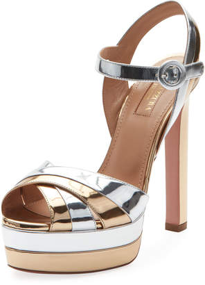 Aquazzura Coquette Metallic Leather Platform Sandal