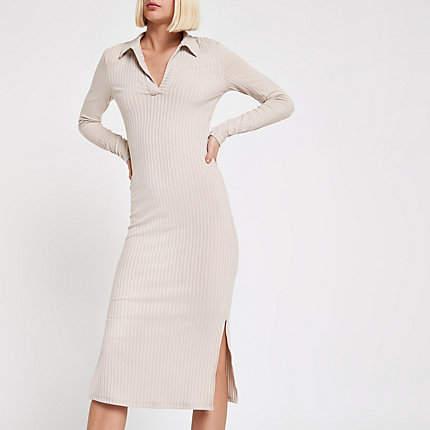 Womens Light Grey ribbed collar bodycon midi dress