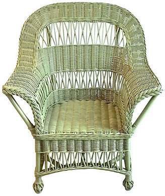 One Kings Lane Vintage Cape Cod-Style Green Wicker Armchair - Vermilion Designs
