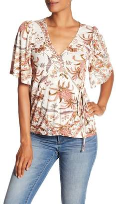 Lucky Brand Floral Print Wrap Top