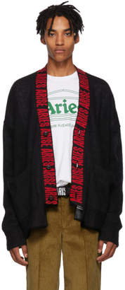 Aries Black Mohair Logo Cardigan