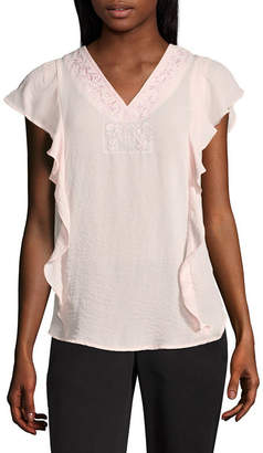 Liz Claiborne Flutter Sleeve V-Neck Tee - Tall