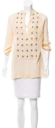 Gryphon Embellished Semi-Sheer Tunic
