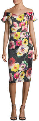 David Meister Floral Off-the-Shoulder Sheath Cocktail Dress