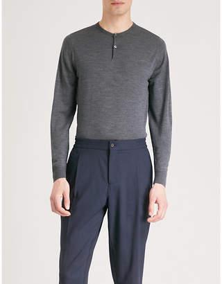 John Smedley Russet button-detail wool jumper