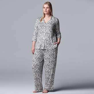 Vera Wang Plus Simply Vera Notch Collar Pajama Set