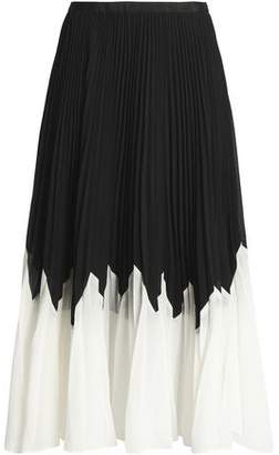 Raoul Betty Two-Tone Pleated Crepe Midi Skirt