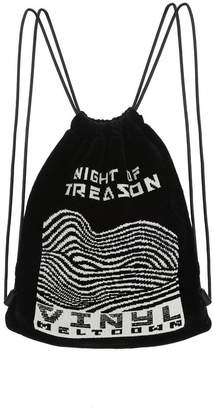Alexander Wang PRIMARY DRAWSTRING BACKPACK IN BLACK WITH WHITE RAVE FLYER CHENILLE BACKPACK