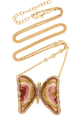 Jacquie Aiche Pave Watermelon Tourmaline Butterfly Necklace