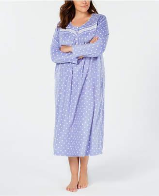 Charter Club Plus Size Printed Fleece Nightgown