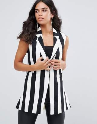 Forever Unique Mono Stripe Sleeveless Blazer