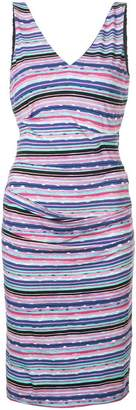 Nicole Miller striped V-neck midi dress