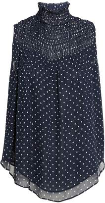 Frame Polka Dot Smocked Navy Top