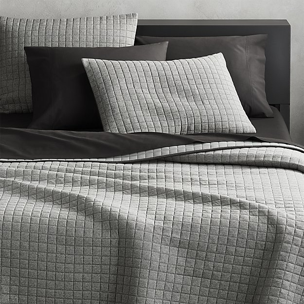 Grid Grey Cotton Jersey Full/Queen Quilt