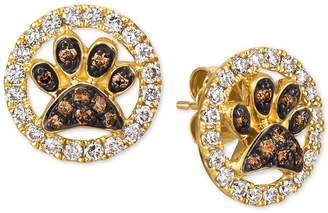 LeVian Le Vian Nude & Chocolate Diamond Paw Prints Stud Earrings (3/4 ct. t.w.) in 14k Gold