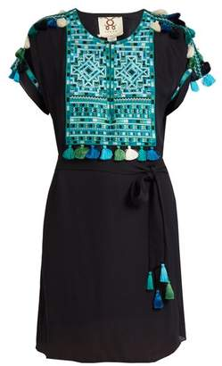 Figue Naya Embroidered Silk Georgette Dress - Womens - Blue Multi