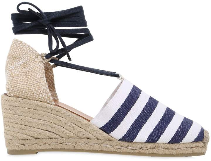 Castaner 60mm Striped Canvas Lace Up Espadrilles