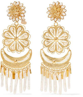 Mercedes Salazar Fiesta Tasseled Gold-plated Pearl Clip Earrings