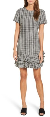 Women's Chelsea28 Tweed Ruffle Shift Dress $149 thestylecure.com