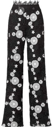 Naeem Khan Two-tone Guipure Lace Wide-leg Pants - Black