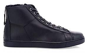 Gianvito Rossi Men's Faux Fur Trim High Top Leather Sneakers