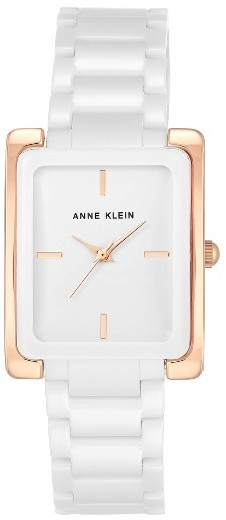 Anne Klein Women's Anne Klein Rectangle Ceramic Bracelet Watch, 28Mm X 35Mm