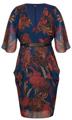 City Chic Fire Bloom Belted Dress