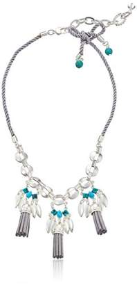 m. haskell Purple by Mini Statements White and Turquoise Color Mixed Bead Leather Tassel Necklace