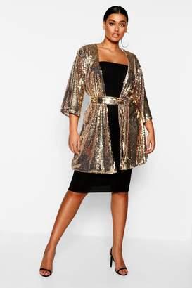 boohoo Plus Sequin Belted Kimono