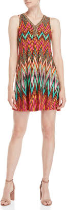 Sandra Darren Petite Printed Beaded V-Neck Dress
