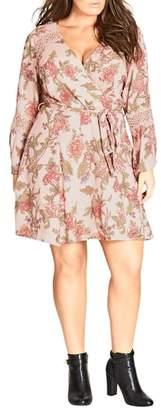 City Chic Floral Print Wrap Dress