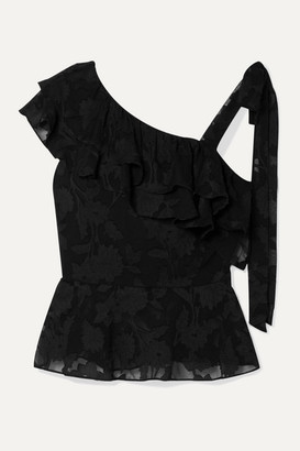 Rachel Zoe Katerina Ruffled Fil Coupé Silk And Cotton-blend Chiffon Blouse - Black