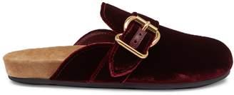 Prada Buckled velvet backless loafers