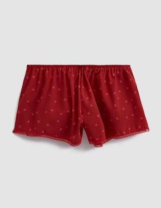 "Laura Urbinati Stretch Crepe De Chine Sleep Short ""Pois"" in Ruby/Fuchsia"