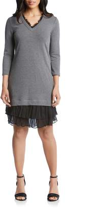 Karen Kane Ruffle Hem Sweater Dress