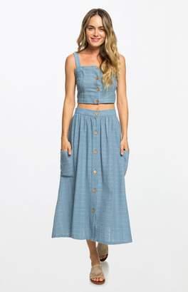 Roxy Blue Feather Dance Midi Skirt