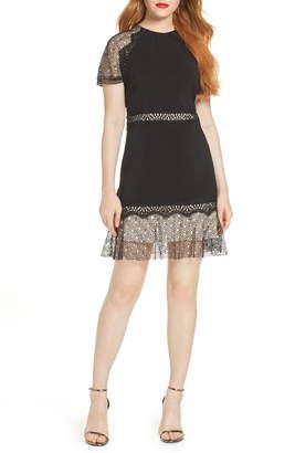 Foxiedox Lace Ruffled Hem Cocktail Dress